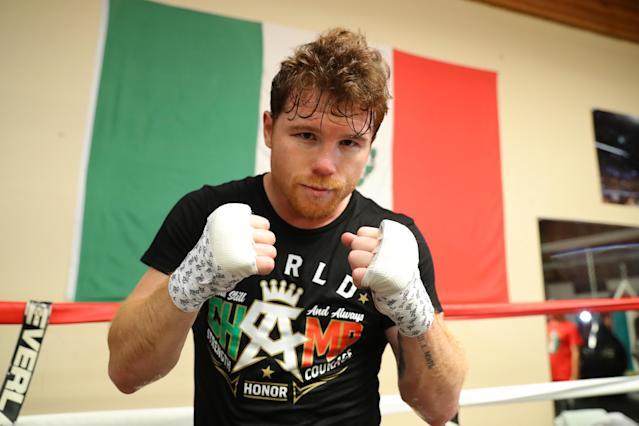 Canelo Alvarez will be allowed to use only 30 feet of tape in his hand wraps on Saturday when he meets Gennady Golovkin at T-Mobile Arena in Las Vegas for the unified middleweight championship. (Getty Images)