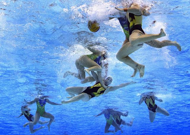 <p>Gemma Beadsworth of Australia is smashed during the Women's Water Polo qualification match between Australia and Brazil at Olympic Aquatics Stadium on August 17, 2016 in Rio de Janeiro, Brazil. (Photo by Getty Images/Getty Images) </p>