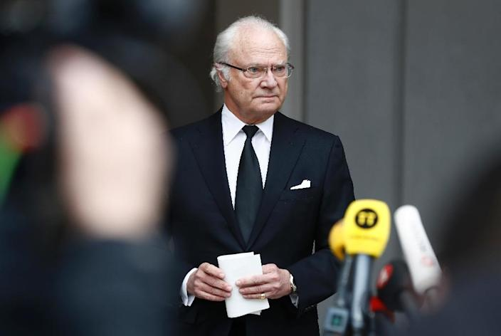 """King Carl XVI Gustaf said Sweden's response to the attack """"shows the strength of our society"""" (AFP Photo/Odd ANDERSEN)"""