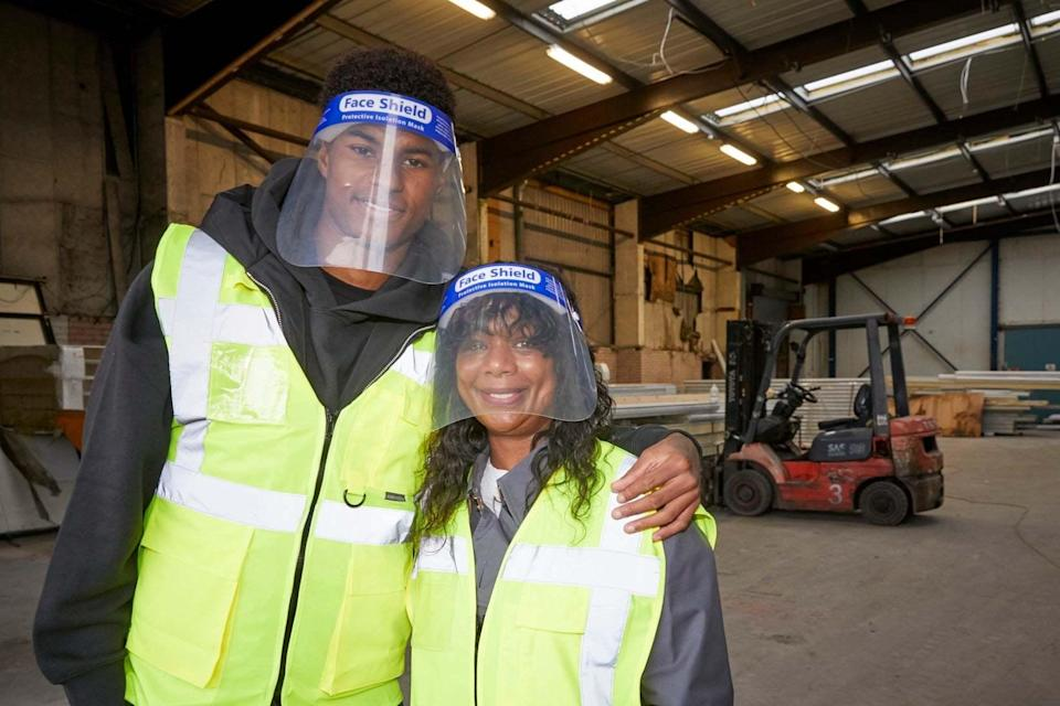 Marcus Rashford visited FareShare Greater Manchester at New Smithfield Market with his mother (right), which is naming a new warehouse in her honour. (PA)