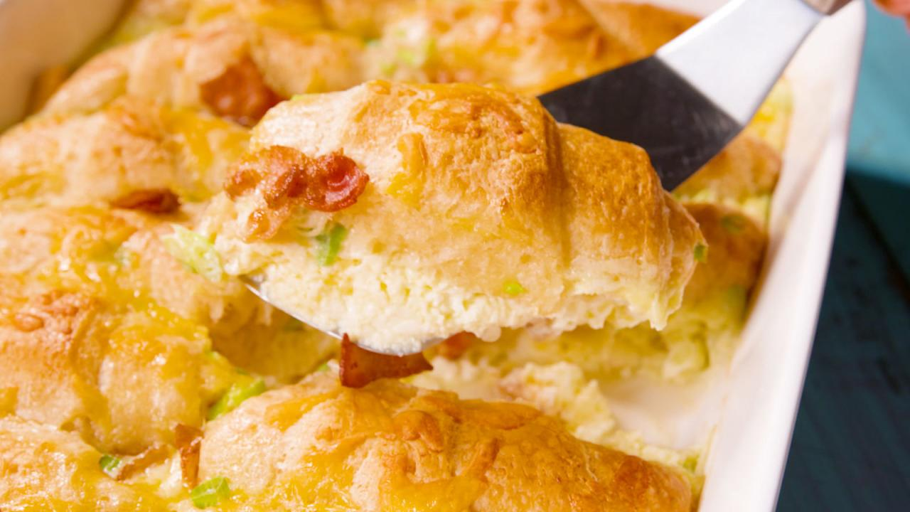 The magical way that these crescent rolls rise out of the cheesy, egg ...