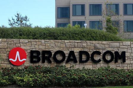 A sign to the campus offices of chip maker Broadcom Ltd, who announced on Monday an unsolicited bid to buy peer Qualcomm Inc for $103 billion, is shown in Irvine, California