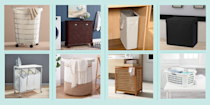 """<p>Laundry hampers may not be as exciting as other home buys (think: <a href=""""https://www.goodhousekeeping.com/home-products/g29892090/best-mattresses/"""" rel=""""nofollow noopener"""" target=""""_blank"""" data-ylk=""""slk:new mattresses"""" class=""""link rapid-noclick-resp"""">new mattresses</a> and <a href=""""https://www.goodhousekeeping.com/home-products/a25619386/best-duvet-cover/"""" rel=""""nofollow noopener"""" target=""""_blank"""" data-ylk=""""slk:cozy duvet covers"""" class=""""link rapid-noclick-resp"""">cozy duvet covers</a>), but they serve an equally important purpose. They collect everything — clothes, linens, and towels — in one spot, so you don't have to resort to dirtying your bedroom or bathroom floor with messy piles. Some clothes hampers even make for a more organized laundry day, dividing your colors, lights, and darks before you make the trek to <a href=""""https://www.goodhousekeeping.com/appliances/washer-reviews/g105/washing-machine-reviews/"""" rel=""""nofollow noopener"""" target=""""_blank"""" data-ylk=""""slk:the washing machine"""" class=""""link rapid-noclick-resp"""">the washing machine</a>. But if you want to find a storage solution that is just as functional as it stylish, take a look at this list of laundry hampers and baskets in varying shapes, sizes, and materials. </p><p>When shopping, consider how much floor space you can spare (an empty corner, slim space between bedroom furniture, or a sizable portion of your closet), along with how much laundry your household gathers between washes. Then find a hamper with features that tackle a specific problem: wheels that reduce aches and pains after transporting heavy loads, lids that conceal unsightly piles, handles that make it easier to carry laundry to and from <a href=""""https://www.goodhousekeeping.com/home/organizing/g25572553/laundry-room-ideas/"""" rel=""""nofollow noopener"""" target=""""_blank"""" data-ylk=""""slk:the laundry room"""" class=""""link rapid-noclick-resp"""">the laundry room</a>, collapsible capabilities that save space, or shelves that double as ironing boards. While non"""
