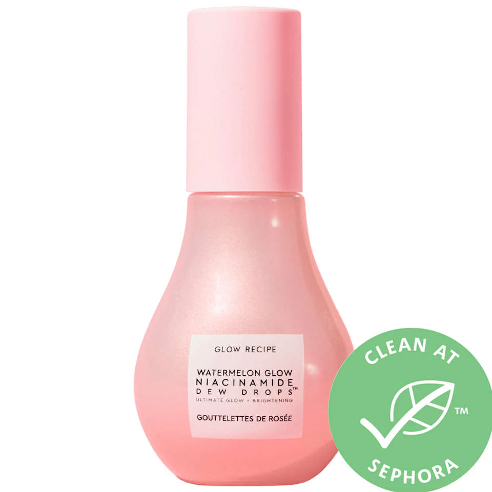 """<h2>Glow Recipe Watermelon Glow Niacinamide Dew Drops</h2><br>Featured most recently in one of our <a href=""""https://jump.refinery29.com/join/24/signup-mostwanted?_ga=2.102945923.289183851.1616979561-1623748181.1616979561"""" rel=""""nofollow noopener"""" target=""""_blank"""" data-ylk=""""slk:Most Wanted Shopping newsletters"""" class=""""link rapid-noclick-resp"""">Most Wanted Shopping newsletters</a> (you can <a href=""""https://jump.refinery29.com/join/24/signup-mostwanted?_ga=2.102945923.289183851.1616979561-1623748181.1616979561"""" rel=""""nofollow noopener"""" target=""""_blank"""" data-ylk=""""slk:sign up here"""" class=""""link rapid-noclick-resp"""">sign up here</a> if you're interested), <a href=""""https://www.refinery29.com/en-us/2020/12/10213880/glow-recipe-watermelon-glow-dew-drops-review"""" rel=""""nofollow noopener"""" target=""""_blank"""" data-ylk=""""slk:Glow Recipe's delightful Watermelon Dew Drops"""" class=""""link rapid-noclick-resp"""">Glow Recipe's delightful Watermelon Dew Drops</a> rose again to top of cart fame since debuting back in December of 2020. A highlighter-serum hybrid, the formula relies on niacinamide (aka a form of vitamin B) to help curb excess oil while minimizing the appearance of texture for a clearer and more radiant complexion. """"Unlike other serums I've tried, I liked that this tiny pink bottle can be used in myriad ways: applied as a serum before moisturizer, as a skin-care top coat for a glossy effect on cheekbones, or my personal favorite, mixed into your favorite foundation for dewy, buildable coverage,"""" our Beauty & Wellness writer, Karina Hoshikawa, says of the K-beauty gem.<br><br><em>Shop <strong><a href=""""https://www.sephora.com/product/glow-recipe-watermelon-glow-niacinamide-dew-drops-P466123"""" rel=""""nofollow noopener"""" target=""""_blank"""" data-ylk=""""slk:Sephora"""" class=""""link rapid-noclick-resp"""">Sephora</a></strong></em><br><br><strong>Glow Recipe</strong> Watermelon Glow Niacinamide Dew Drops, $, available at <a href=""""https://go.skimresources.com/?id=30283X879131&url=https%3A%2F%2Ffave.co%2F3oyMLGm"""" rel"""