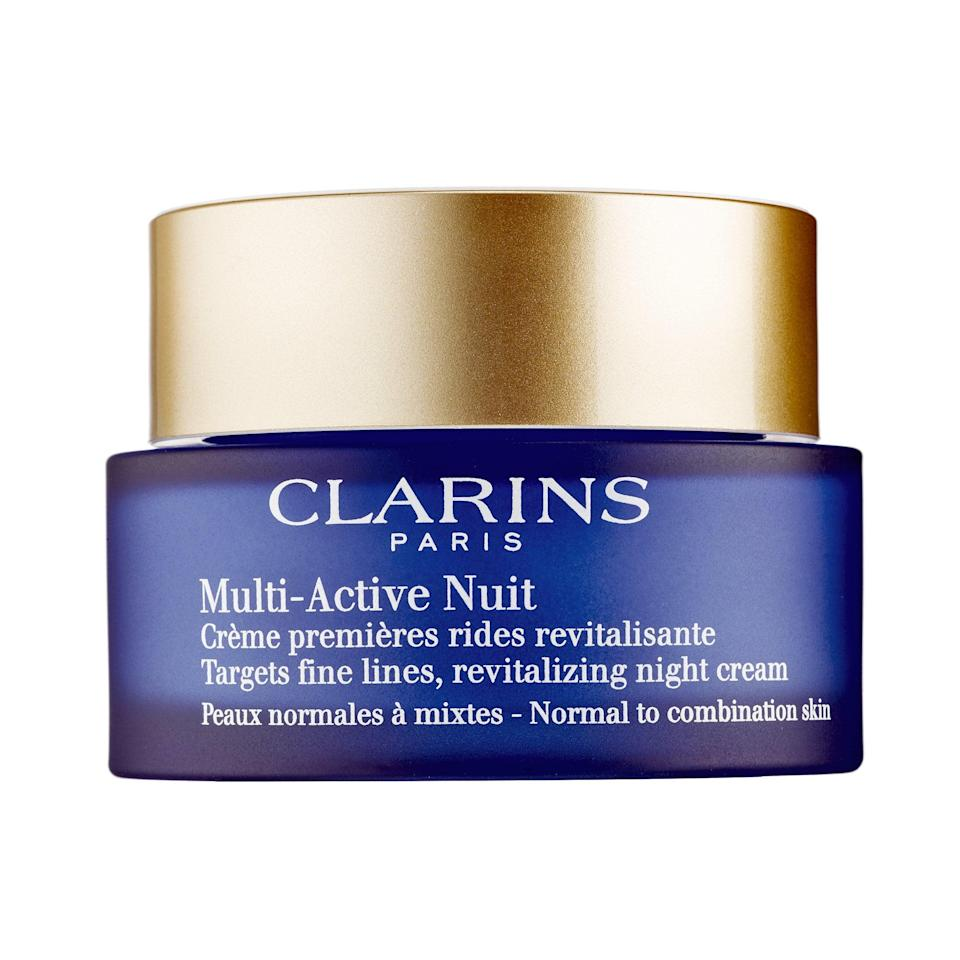 """<p>No matter what antics from the night before show up on your face the morning after, Clarins' Multi-Active Nuit has got you. The formula features poppy extract and <a href=""""https://www.allure.com/story/what-is-hyaluronic-acid-skin-care?mbid=synd_yahoo_rss"""" rel=""""nofollow noopener"""" target=""""_blank"""" data-ylk=""""slk:hyaluronic acid"""" class=""""link rapid-noclick-resp"""">hyaluronic acid</a> to nourish skin and address signs of fatigue with continued use. """"Most night creams are not going to transform your skin in one night,"""" Sobel explains. """"They take days, even weeks, to show their full effects."""" In other words, patience pays off in the long run.</p> <p><strong>$58</strong> (<a href=""""https://shop-links.co/1668095098394340171"""" rel=""""nofollow noopener"""" target=""""_blank"""" data-ylk=""""slk:Shop Now"""" class=""""link rapid-noclick-resp"""">Shop Now</a>)</p>"""