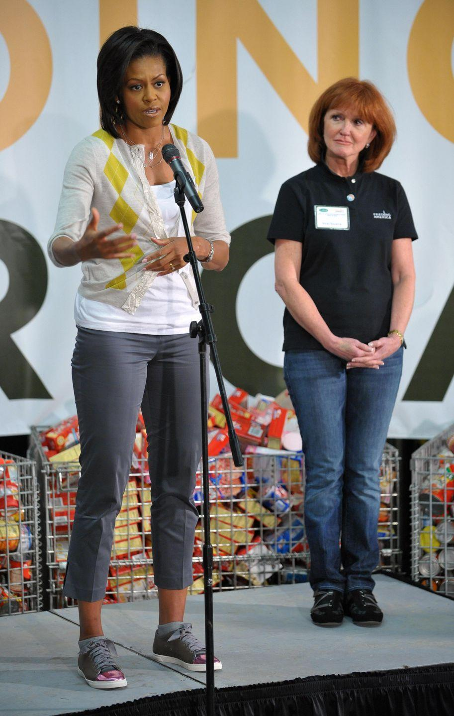"<p>While at a 2009 food bank event in Washington D.C., former first lady Michelle Obama wore a pair of $540 Lanvin sneakers that caused her to appear in a couple of headlines. When <a href=""http://www.nydailynews.com/life-style/fashion/lady-michelle-obama-steps-lanvin-sneakers-540-article-1.376580"" rel=""nofollow noopener"" target=""_blank"" data-ylk=""slk:asked about the shoes"" class=""link rapid-noclick-resp"">asked about the shoes</a> later by reporters, Obama reportedly told them, ""They're shoes."" </p>"