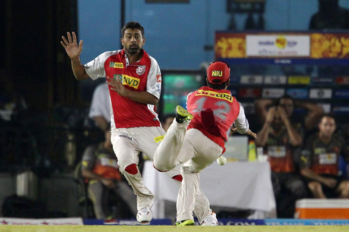 Praveen Kumar and Sandeep Sharma nearly clash and the catch is dropped during match 59 of of the Pepsi Indian Premier League between The Kings XI Punjab and the Sunrisers Hyderabad held at the PCA Stadium, Mohali, India on the 11th May 2013. (BCCI)