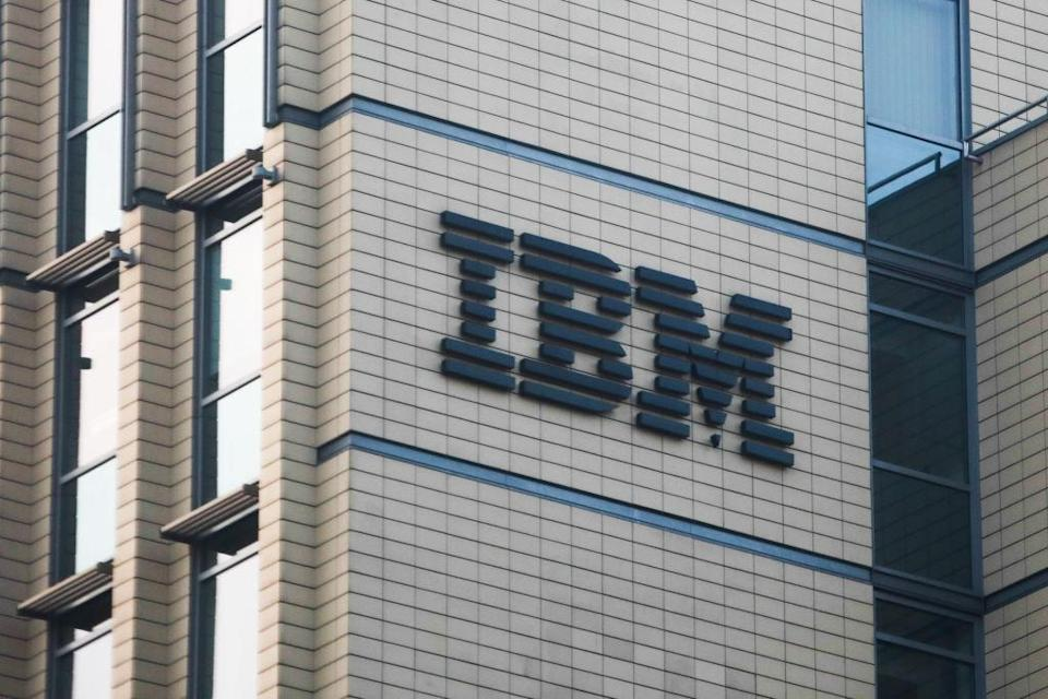 IBM logo is seen on the office building in Krakow, Poland on February 28, 2020. (Photo by Jakub Porzycki/NurPhoto via Getty Images)