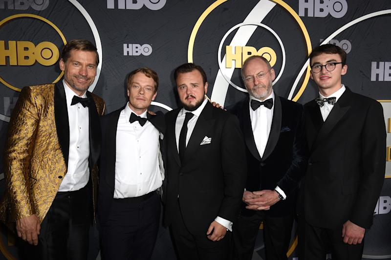 LOS ANGELES, CALIFORNIA - SEPTEMBER 22: (L-R) Nikolaj Coster-Waldau, Alfie Allen, John Bradley, Liam Cunningham and Isaac Hempstead Wright attend HBO's Official 2019 Emmy After Party on September 22, 2019 in Los Angeles, California. (Photo by FilmMagic/FilmMagic for HBO)