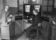 <p>Before fax machines were connected to telephone lines, information was transferred via radio transmissions. The radio facsimile machine pictured here can print a 4-column newspaper with illustrations at the rate of 500 words per minute. </p>