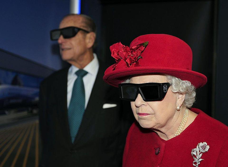 <p>Wearing 3D glasses to watch a display during a visit to the University of Sheffield Advanced Manufacturing Research centre.</p>