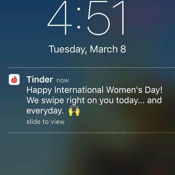 <p>A message sent to Tinder users on International Women's Day last year was quickly criticised as being insensitive and sexist.Photo from Twitter. </p>