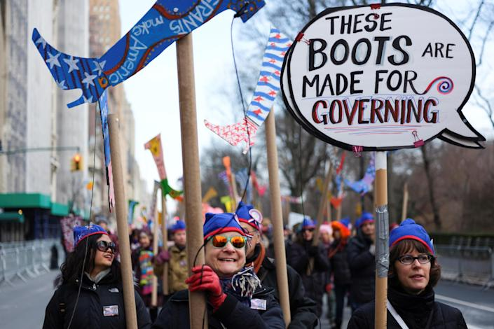 Demonstrators take part in a march organized by the Women's March Alliance in the Manhattan borough of New York City, Jan. 19, 2019. (Photo: Caitlin Ochs/Reuters)