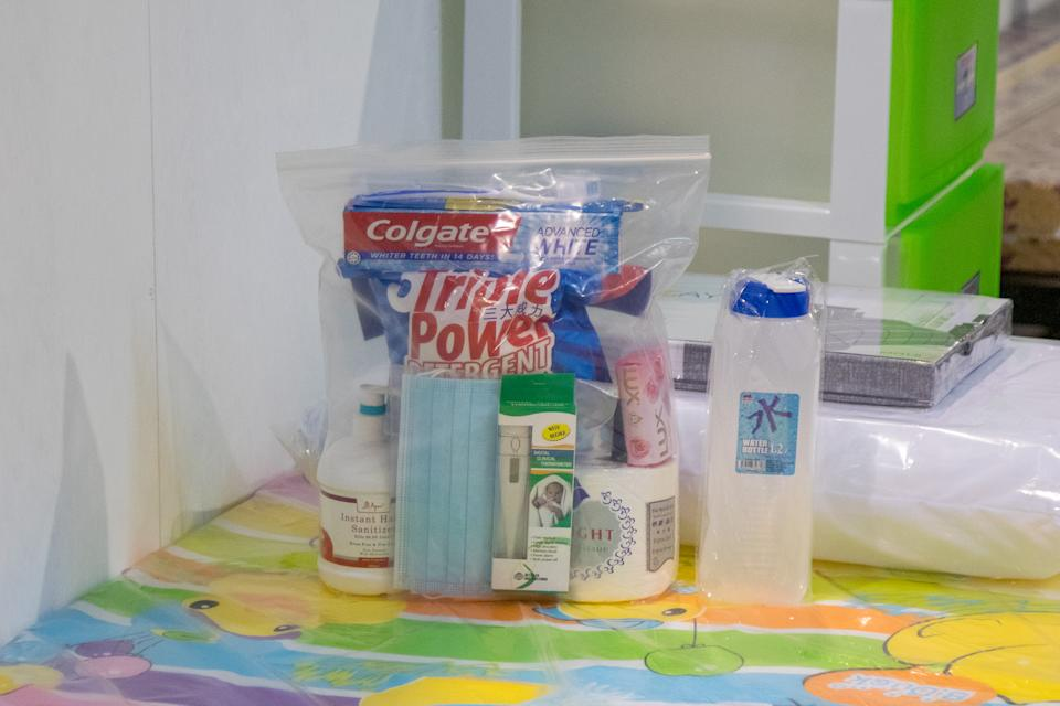 Patients arriving at the CEC will be given welcom packs that include laundry detergent, toiletries, face masks, hand sanitiser and an oral thermometer. (PHOTO: Dhany Osman / Yahoo News Singapore)