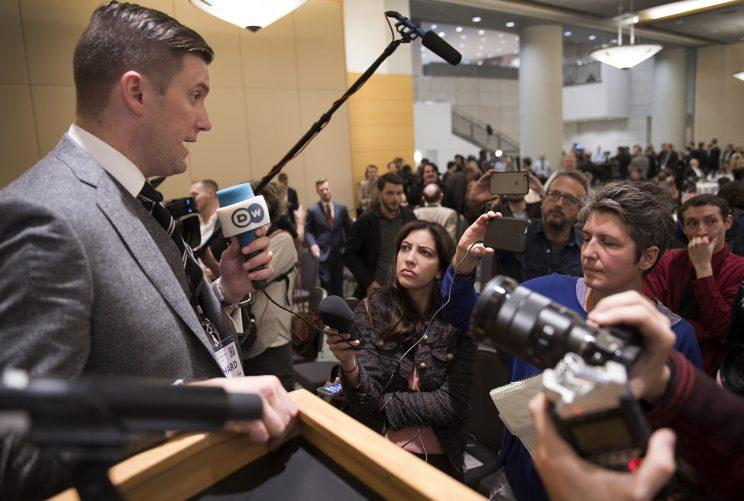 Richard Spencer, head of the white nationalist think tank National Policy Institute, faces the media at an alt-right conference in Washington. (Photo: Linda Davidson/ Washington Post via Getty Images)
