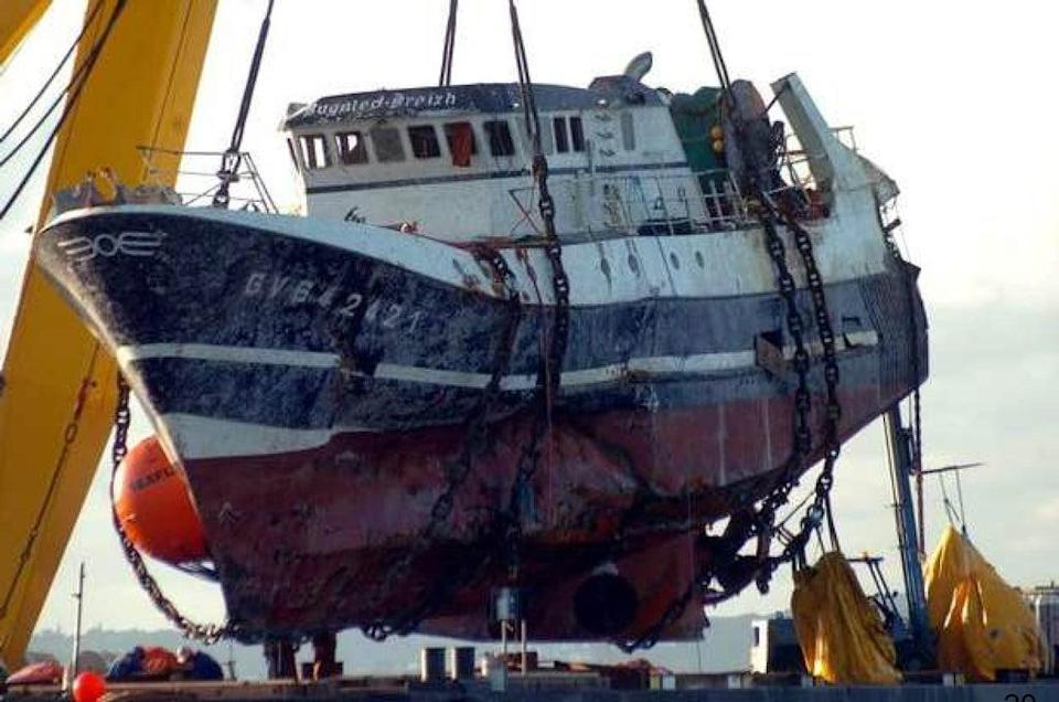 Investigators believe the Bugaled Breizh's trawling gear became entangled on the seabed (Field Fisher/PA) (PA Media)