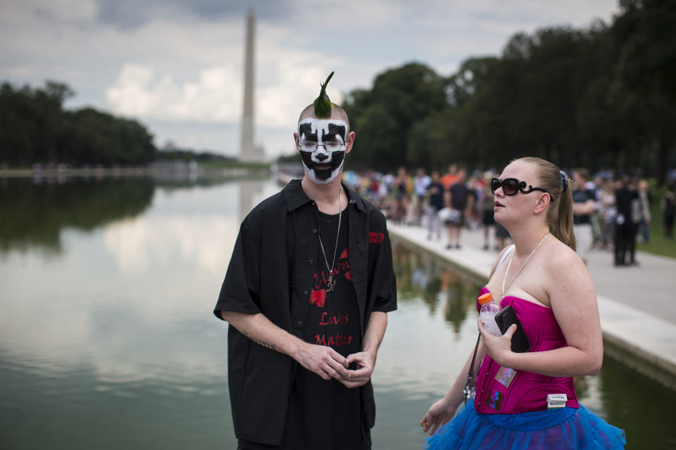 Fans of the band Insane Clown Posse, who are known as juggalos, are protesting their identification as a gang by the FBI in a 2011 National Gang Threat Assessment. (Photo: Al Drago/Getty Images)