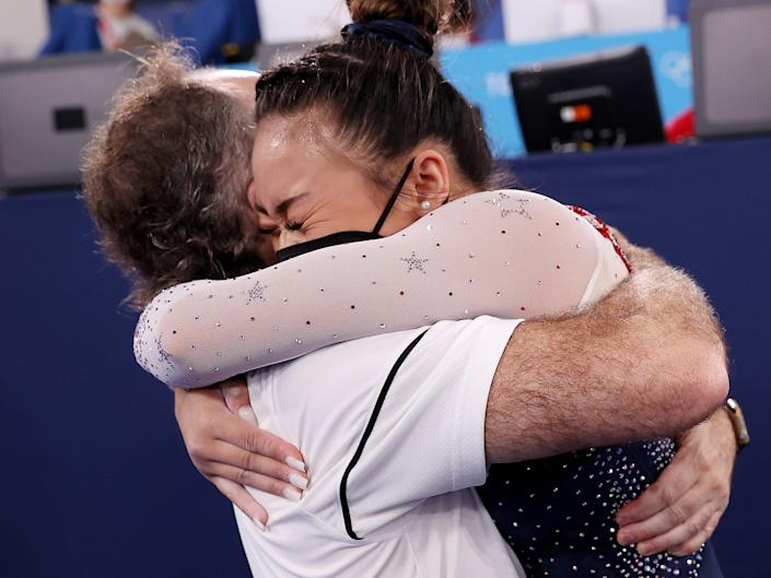 Sunisa Lee of Team USA celebrates after winning gold at the 2020 Tokyo Olympic s