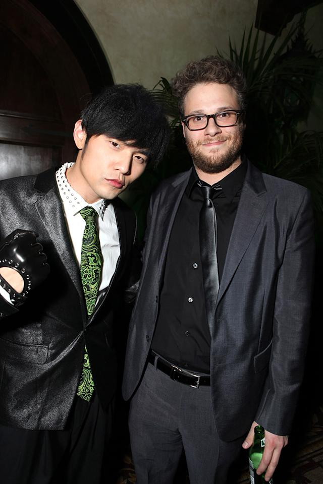 """<a href=""""http://movies.yahoo.com/movie/contributor/1809668744"""">Jay Chou</a> and <a href=""""http://movies.yahoo.com/movie/contributor/1804494942"""">Seth Rogen</a> attend the Los Angeles premiere of <a href=""""http://movies.yahoo.com/movie/1808411967/info"""">The Green Hornet</a> on January 10, 2011."""