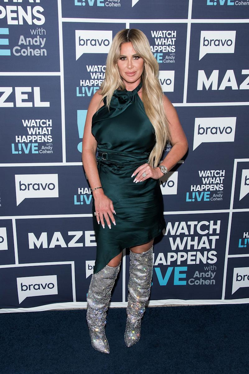 """Real Housewives"" star Kim Zolciak-Biermann wore her boots for <a href=""http://www.bravotv.com/watch-what-happens-live-with-andy-cohen/season-14/kim-zolciak-biermann-kroy-biermann"" target=""_blank"">an October appearance</a> on ""Watch What Happens Live."""