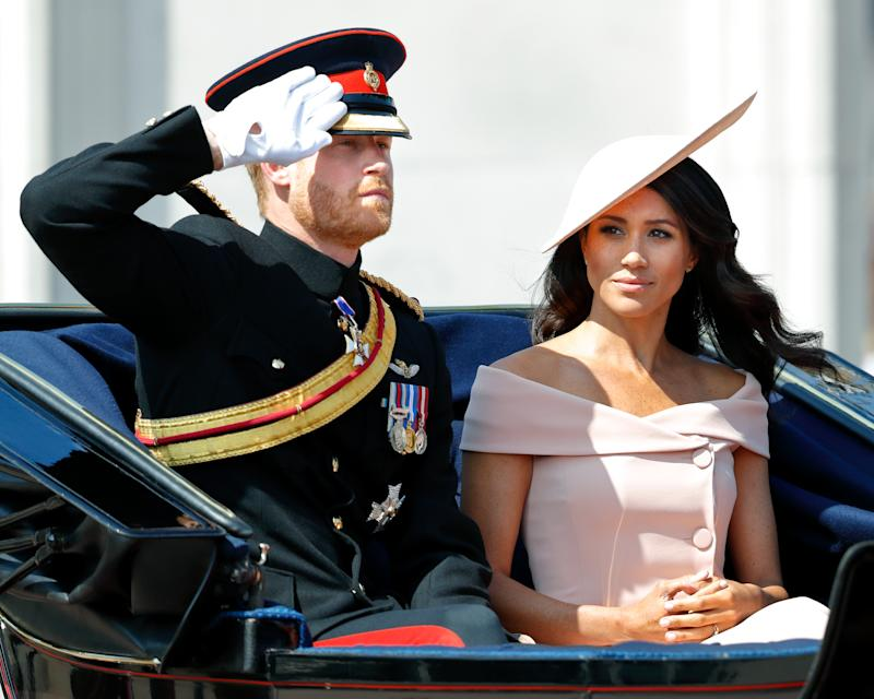 Prince Harry and Meghan Markle at the Trooping of the Colour 2018