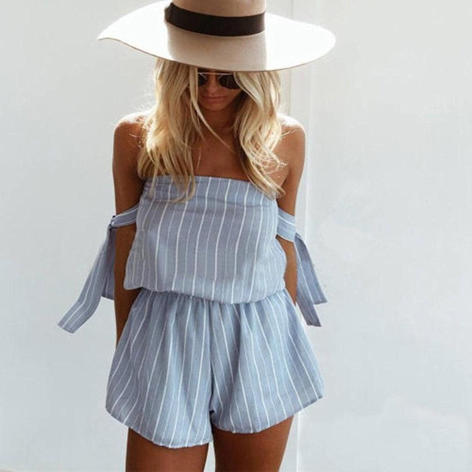 <p>Accessorize this <span>SweatyRocks Tie Front Short Romper </span> ($19-$33) with a wide-brimmed hat for a chic beach day.</p>