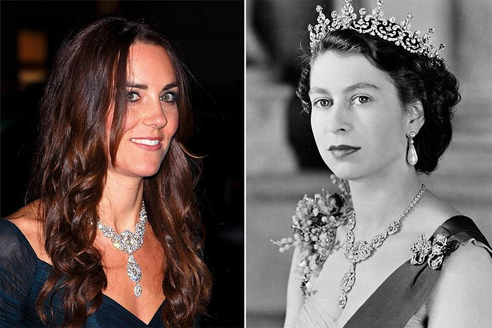 <p>The necklace was a gift from Queen Victoria's son to his wife, Princess Alexandra of Denmark to celebrate their 1863 wedding. The necklace was part of a whole set which included a tiara, brooch and earrings. The stunning piece was passed down to the Queen Mother, who wore it often until her 2002 death. It has since been lent to Kate from Queen Elizabeth.</p>