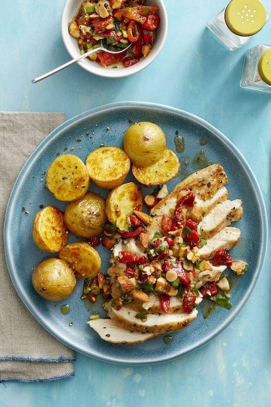 """<p>This chicken is topped with a homemade relish that adds acidity and would go perfectly with any main dish, not just poultry. <br></p><p><em><a href=""""https://www.womansday.com/food-recipes/food-drinks/a25621665/roasted-chicken-and-garlic-potatoes-with-red-pepper-relish-recipe/"""" rel=""""nofollow noopener"""" target=""""_blank"""" data-ylk=""""slk:Get the Roasted Chicken and Garlic Potatoes with Red Pepper Relish recipe."""" class=""""link rapid-noclick-resp"""">Get the Roasted Chicken and Garlic Potatoes with Red Pepper Relish recipe.</a></em></p><p><strong>_________________________________________________________</strong></p><p><em>Want more recipes? You're in luck! <a href=""""https://subscribe.hearstmags.com/subscribe/womansday/253396?source=wdy_edit_article"""" rel=""""nofollow noopener"""" target=""""_blank"""" data-ylk=""""slk:Subscribe to Woman's Day"""" class=""""link rapid-noclick-resp"""">Subscribe to Woman's Day</a> today and get <strong>73% off your first 12 issues</strong>. And while you're at it, <a href=""""https://subscribe.hearstmags.com/circulation/shared/email/newsletters/signup/wdy-su01.html"""" rel=""""nofollow noopener"""" target=""""_blank"""" data-ylk=""""slk:sign up for our FREE newsletter"""" class=""""link rapid-noclick-resp"""">sign up for our FREE newsletter</a> for even more of the Woman's Day content you want.</em></p>"""