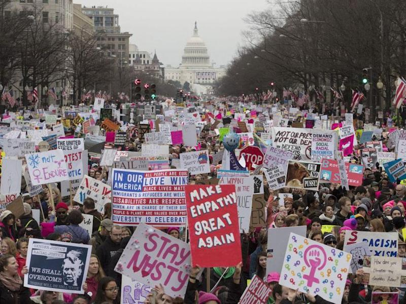 The move came just day's after women march on the US capital and around the world demanding their rights be protected: EPA/MICHAEL REYNOLDS