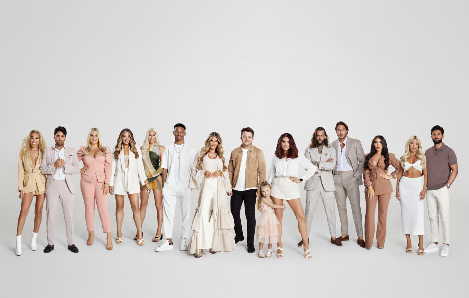 From Lime Pictures   The Only Way Is Essex: SR29 on ITVBe and ITV Hub  Pictured: (L-R) Dani Imbert, Liam 'Gatsby' Bakewell, Saffron Lempiere, Frankie Sims, Demi Sims, Roman Hackett, Chloe Sims, James 'Diags' Bennewith, Amy Childs with daughter Polly, Pete Wicks, James 'Lockie' Lock, Chloe Brockett, Amber Turner and Dan Edgar.  This photograph is (C) Lime Pictures and can only be reproduced for editorial purposes directly in connection with the programme or event mentioned above, or ITV plc. Once made available by ITV plc Picture Desk, this photograph can be reproduced once only up until the transmission [TX] date and no reproduction fee will be charged. Any subsequent usage may incur a fee. This photograph must not be manipulated [excluding basic cropping] in a manner which alters the visual appearance of the person photographed deemed detrimental or inappropriate by ITV plc Picture Desk.  This photograph must not be syndicated to any other company, publication or website, or permanently archived, without the express written permission of ITV Picture Desk. Full Terms and conditions are available on the website www.itv.com/presscentre/itvpictures/terms  For further information please contact: iwona.karbowska@itv.com / 0207 157 3043