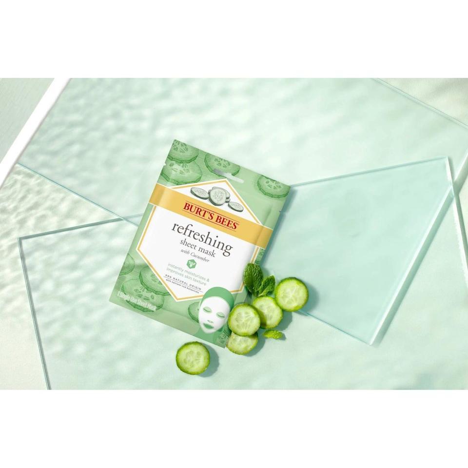 <p>Cool off and soothe your skin with the <span>Burt's Bees Refreshing Sheet Mask</span> ($3). It contains nourishing cucumber extract that moisturizes, refreshes and awakens skin.</p>