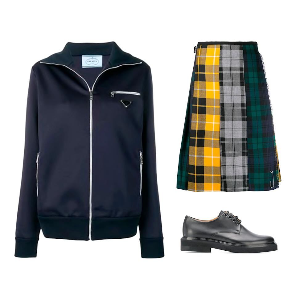 """<p>From Scottish label, Le Kilt, this tartan skirt will transport you to any Highland fling. Continue the party with Prada's cool track jacket and a pair of A.P.C's classic black brogues.</p> <p><strong>Buy now:</strong> Prada jacket, $1,400, <a href=""""https://www.farfetch.com/shopping/women/prada-logo-patch-track-jacket-item-13805649.aspx?storeid=9475"""">farfetch.com</a>, Le Kilt skirt, $637, <a href=""""https://www.farfetch.com/shopping/women/le-kilt-plaid-panelled-midi-skirt-item-14218298.aspx?storeid=9897"""">farfetch.com</a>, A.P.C shoe, $353, <a href=""""https://www.farfetch.com/shopping/women/apc-gustave-derby-shoes-item-14305072.aspx?storeid=9699"""">farfetch.com</a>.</p>"""