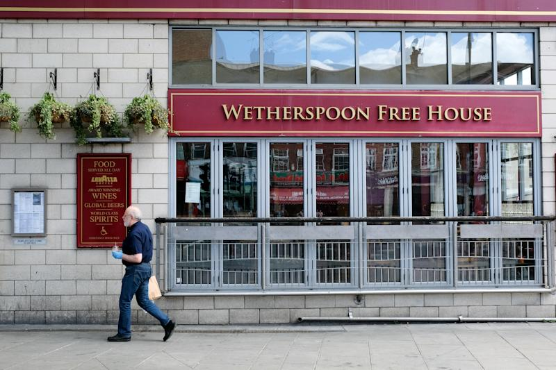 LONDON, UNITED KINGDOM - MAY 23, 2020 - Coronavirus: JD Wetherspoon pubs could begin reopening from the 4th July with safety measures in place,- PHOTOGRAPH BY Matthew Chattle / Barcroft Studios / Future Publishing (Photo credit should read Matthew Chattle/Barcroft Media via Getty Images)