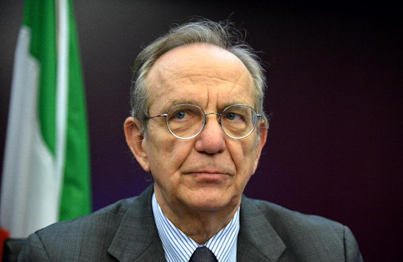 Italy's Economy and Finance Minister Pier Carlo Padoan attends a press conference on July 31 2014, in Rome