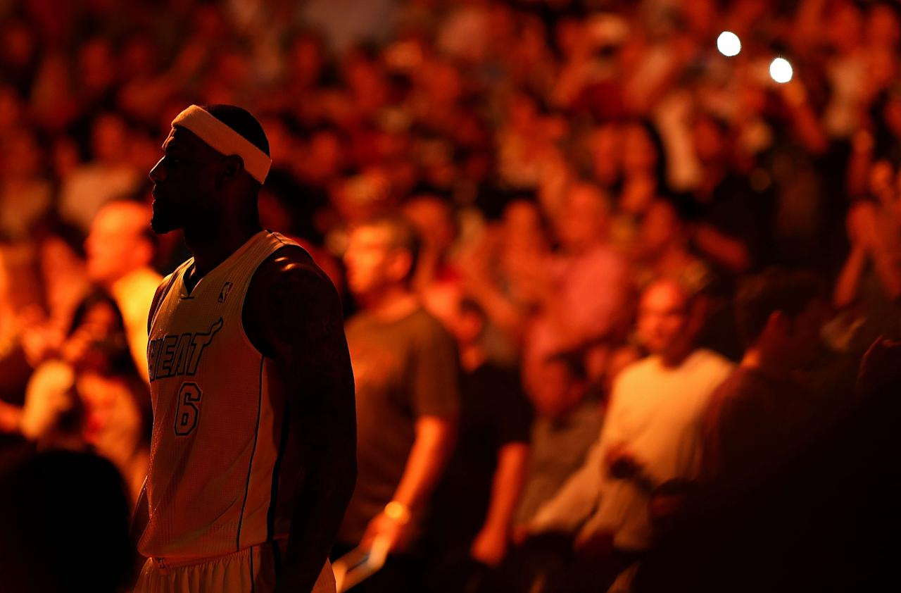 MIAMI, FL - FEBRUARY 10:  LeBron James #6 of the Miami Heat looks on during a game against the Los Angeles Lakers at American Airlines Arena on February 10, 2013 in Miami, Florida.  (Photo by Mike Ehrmann/Getty Images)