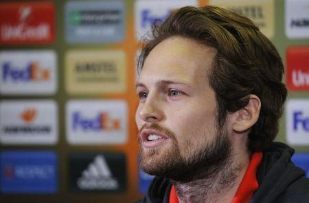 Football Soccer - Manchester United Press Conference - Olimp-2 Stadium, Rostov-on-Don, Russia - 8/3/17 Manchester United's Daley Blind during the press conference Reuters / Maxim Shemetov Livepic