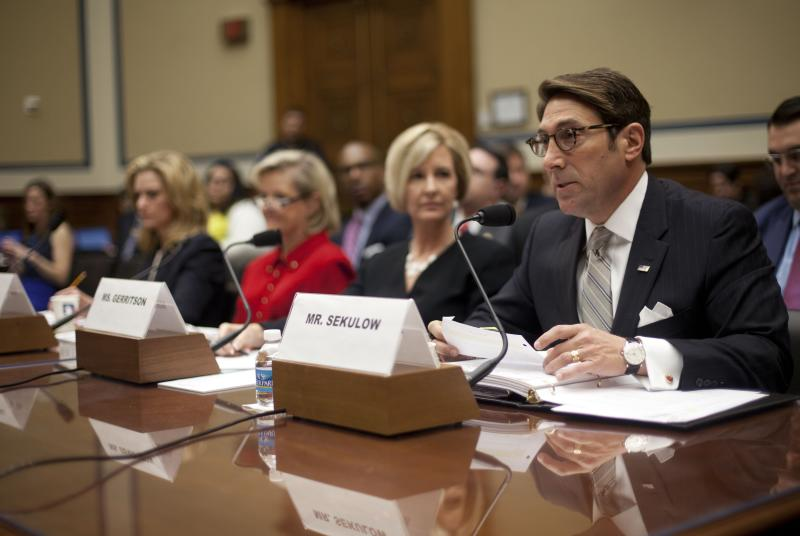 Jay Sekulow, far right, Chief Counsel American Center for Law and Justice, testifies at the House subcommittee on Economic Growth subcommittee's hearing on Capitol Hill in Washington, Feb. 6, 2014, to investigate the Justice Department's investigation into the IRS abuse scandal.