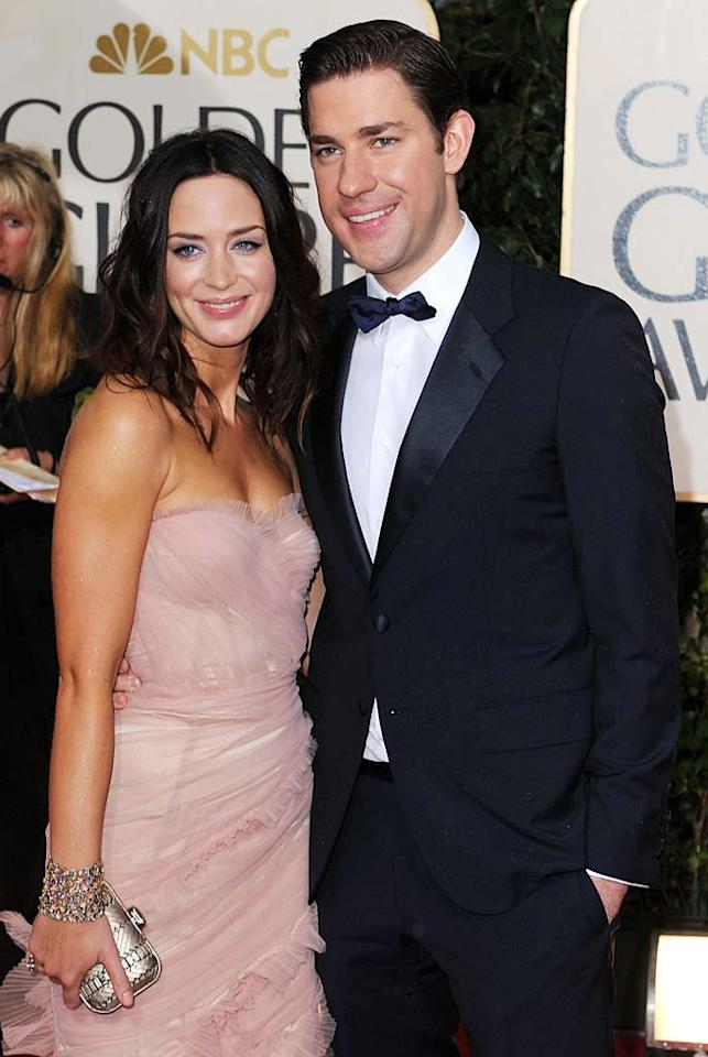 """One week later, Fischer's on-screen hubby, John Krasinski, got hitched to British actress Emily Blunt at Villa D'este in Como, Italy. Krasinski's """"Leatherheads"""" co-star George Clooney and his girlfriend Elisabetta Canalis were in attendance at the outdoor ceremony. Steve Granitz/<a href=""""http://www.wireimage.com"""" target=""""new"""">WireImage.com</a> - January 17, 2010"""