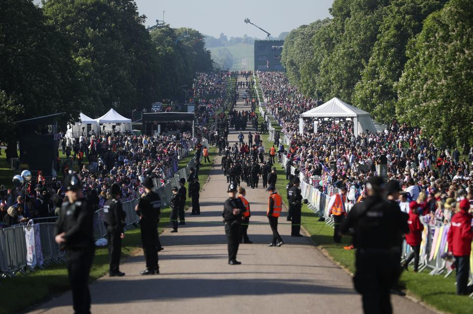 Royal fans gather on the Long Walk outside Windsor Castle ahead of the wedding ceremony of Prince Harry and Meghan Markle at St. George's Chapel in Windsor Castle.