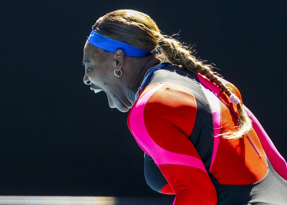 United States' Serena Williams reacts during her fourth round match against Aryna Sabalenka of Belarus at the Australian Open tennis championship in Melbourne, Australia, Sunday, Feb. 14, 2021.(AP Photo/Hamish Blair)