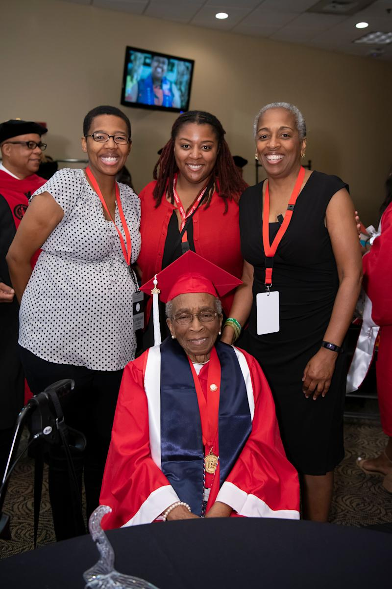 WSSU alumnus and WWII veteran Elizabeth Barker Johnson poses eith her daughter Cynthia Scott (right), and her two granddaughters, Shandra Bryant (left) and Tiffany Scott (center). (Credit: Winston-Salem State University)