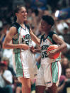 FILE - In this June 29, 1997, file photo, New York Lberty's Rebecca Lobo, left, and Vickie Johnson celebrate as the clock runs down in the team's WNBA basketball game against the Phoenix Mercury in New York. Johnson is now the coach for the WNBA's Dallas Wings. Lobo is a longtime ESPN basketball analyst. (AP Photo/Ron Frehm, File)