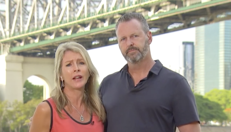 Mark and Julie Wallace speaking to Sunrise Monday. Source: Seven