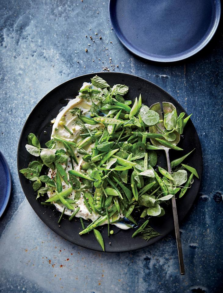 """<p>Look for pea tendrils or shoots at your farmers market or Asian markets; if you can't find them, substitute watercress or arugula.</p> <p><a href=""""https://www.myrecipes.com/recipe/snap-pea-salad-whipped-ricotta"""">Snap Pea Salad with Whipped Ricotta Recipe</a></p>"""