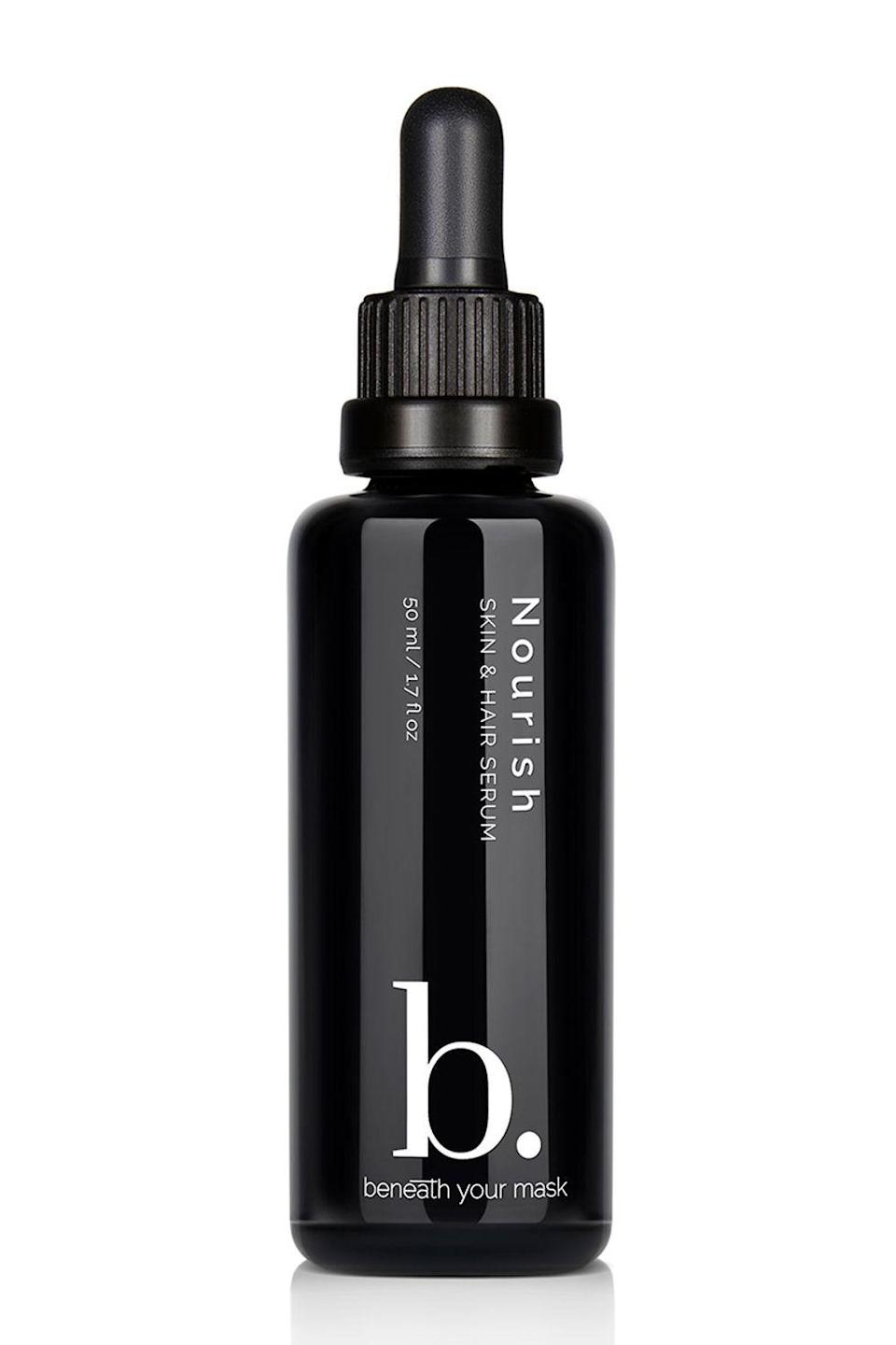 """<p><strong>Beneath Your Mask</strong></p><p>credobeauty.com</p><p><strong>$60.00</strong></p><p><a href=""""https://go.redirectingat.com?id=74968X1596630&url=https%3A%2F%2Fcredobeauty.com%2Fproducts%2Fnourish-skin-hair-serum&sref=https%3A%2F%2Fwww.cosmopolitan.com%2Fstyle-beauty%2Fbeauty%2Fg33473200%2Fbest-organic-hair-products%2F"""" rel=""""nofollow noopener"""" target=""""_blank"""" data-ylk=""""slk:Shop Now"""" class=""""link rapid-noclick-resp"""">Shop Now</a></p><p>This multitasking hair and skin serum is packed with a bunch of <a href=""""https://www.cosmopolitan.com/style-beauty/beauty/g25011204/organic-makeup-brands/"""" rel=""""nofollow noopener"""" target=""""_blank"""" data-ylk=""""slk:organic"""" class=""""link rapid-noclick-resp"""">organic</a> oils, like hemp seed, safflower, rosehip, and macadamia nut oils (to name a few). Add a few drops to damp or dry hair to <strong>nourish dry ends, smooth flyaways, and repair heat damage</strong>, and a few drops to damp skin to give yourself a dewy glow.</p>"""
