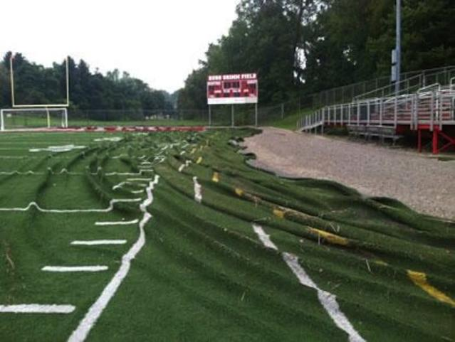 Russ Grimm Field at Southmoreland High was obliterated by a single hour of rain — Twitter