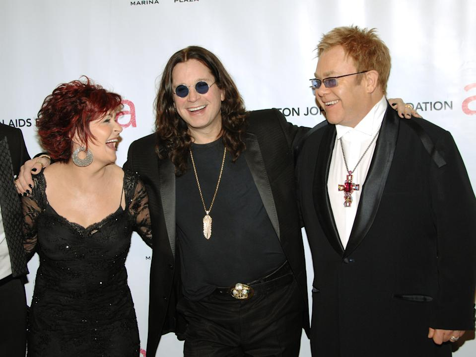 "From left, Sharon Osbourne, Ozzy Osbourne and singer Elton John arrive at the Elton John AIDS Foundation's sixth annual benefit ""An Enduring Vision"" at The Waldorf-Astoria Hotel, Tuesday, Sept. 25, 2007 in New York.  (AP Photo/Evan Agostini)"