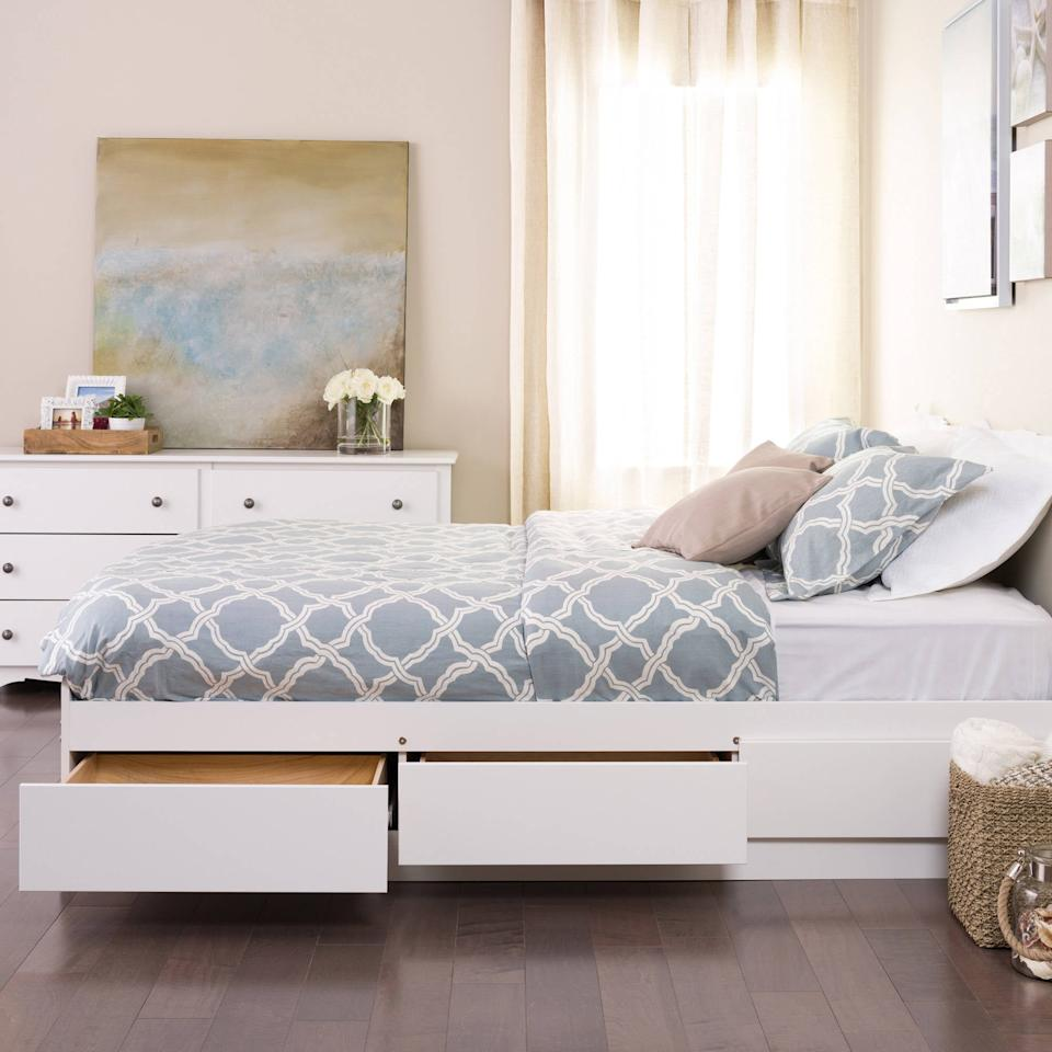 "<p>This sleek and simple <a href=""https://www.popsugar.com/buy/Queen%20Mates%20Platform%20Storage%20Bed-474233?p_name=Queen%20Mates%20Platform%20Storage%20Bed&retailer=walmart.com&pid=474233&price=374&evar1=casa%3Aus&evar9=46442269&evar98=https%3A%2F%2Fwww.popsugar.com%2Fhome%2Fphoto-gallery%2F46442269%2Fimage%2F46442490%2FQueen-Mates-Platform-Storage-Bed&list1=shopping%2Cfurniture%2Cbeds%2Cbedrooms%2Csmall%20space%20living%2Chome%20shopping&prop13=mobile&pdata=1"" rel=""nofollow"" data-shoppable-link=""1"" target=""_blank"" class=""ga-track"" data-ga-category=""Related"" data-ga-label=""https://www.walmart.com/ip/Queen-Mates-Platform-Storage-Bed-with-6-Drawers-White-Box-1-of-3/17439496"" data-ga-action=""In-Line Links"">Queen Mates Platform Storage Bed</a> ($374) is always a good idea.</p>"
