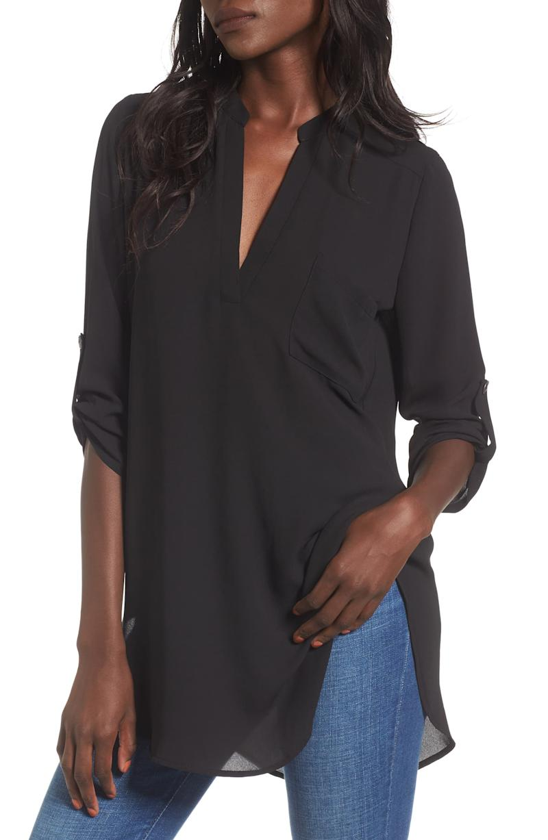 All In Favor Perfect Henley Tunic in black