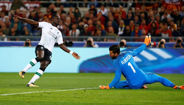 Soccer Football - Champions League Semi Final Second Leg - AS Roma v Liverpool - Stadio Olimpico, Rome, Italy - May 2, 2018 Liverpool's Sadio Mane scores their first goal REUTERS/Tony Gentile